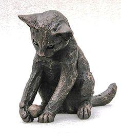 """""""William"""" Playing Kitten by Suzie Marsh Bronze Resin, Made in the UK www.suziemarshscu..."""