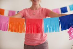 DIY Tutorial: Colorful Tissue Fringe Garland I'm excited to share a colorful, easy, and super budget-friendly party DIY with you today! I used these Tissue Fringe Garlands in a recent Fiesta-themed pr Mexican Fiesta Party, Fiesta Theme Party, Taco Party, Birthday Party Themes, Minion Birthday, Teen Birthday, Animal Birthday, Birthday Ideas, Quinceanera Party
