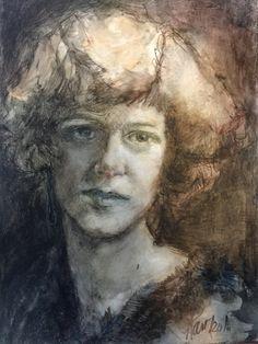 "Grandmother at 16 by Jan Paron, 2016: 9""x12"" in Inktense pencils and ink. #portraitpainting  #portraits #Inktensepencils #makingartsing"