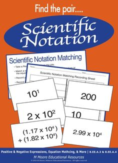 Scientific Notation - Matching Game Fun for Math Stations or Centers! School Resources, Math Activities, Teaching Resources, Math Games, Cooperative Learning, Student Learning, Math Stations, Math Centers, 9th Grade Math