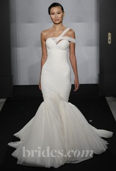 Brides.com: Mark Zunino for Kleinfeld - 2013. Style MZBF47, pleated organza trumpet wedding dress with a one-shoulder strap and a sweetheart neckline, Mark Zunino for Kleinfeld  See more wedding dresses in our gallery.