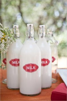 vintage bottles of milk with your own label will look very inviting on your dessert table. How well would that go after people have been drinking is the question???