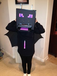 Ready for trick or treating. My daughter wanted to be an Ender dragon from mine craft for halloween so I made her this costume.