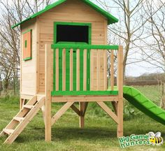 Chestnut Wooden Painted Tower Playhouse with Slide - Easy Assembly Childrens Play House 7 x 6 feet Playhouse With Slide, Outside Playhouse, Garden Playhouse, Build A Playhouse, Small Garden Toys, Kids Garden Toys, Small Gardens, Outdoor Chairs, Outdoor Decor