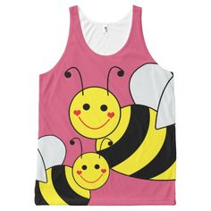 Cute Bumble Bees All-Over Print Tank Top Tank Tops