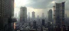 """Dredd Concept Art by Neil Miller - """"Mega City Wide w/skate park"""" [small on the left]"""