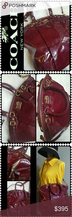 Coach Patent Leather Luxury Bag Coach Luxury Signature Purse in Stunning Burgundy Red! Large and Roomy, Features Patented Leather in Crossbody Satchel Bag Style! A Rare Coach Luxury Timeless Piece! HandCrafted from the Finest Materials and Leather! Its Superior Craftmanship Reflects an Enduring Quality at All Times!   Gold Tone Hardware with Adjustable and Removable Crossbody Strap, Main Zipper Top Closure Opens to Fully Lined Interior with Zipped Pocket and Slip Pockets! Approx Size 14x16x3…