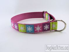 "Christmas Dog Collar - Vibrant Vintage Snowflake - 1"" Wide Quick Release or Martingale Dog Collar"