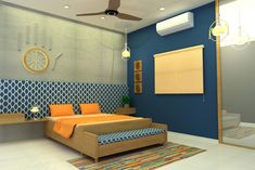 Here you will find photos of interior design ideas. Get inspired! Study Room Design, Master Bedroom Design, Blue Bedroom, Bedroom Decor, Asian Style Bedrooms, Maximalist Interior, False Ceiling Design, Bed Design, Bed Room