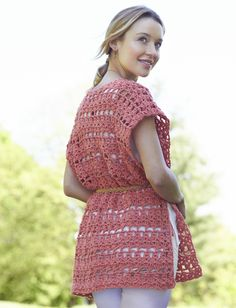 Ruana as vest.  Caron Crochet Short Ruana - Patterns  | Yarnspirations