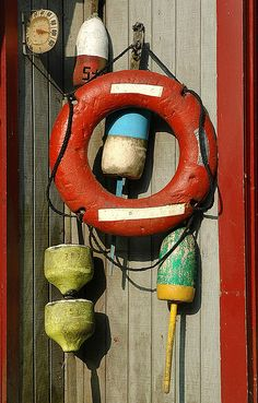 nautical decor-floatation equipment.