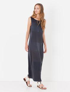 Long silk satin and jersey dress