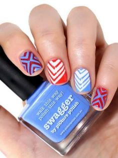 Fun And Easy Geometric Nail Art Designs For Girls Nail Art Trendy Nail Art, Cool Nail Art, White Nail Designs, Nail Art Designs, Nails Design, Diy Design, Blue Design, Geometric Nail Art, Super Nails
