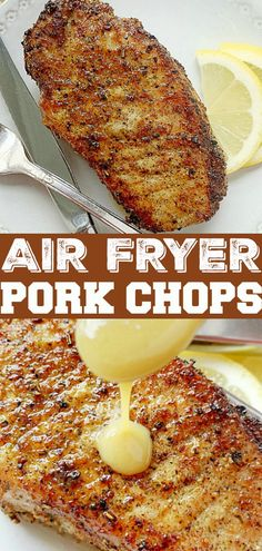 Learn all the tips and tricks for making perfect Air Fryer Pork Chops with a maple dijon lemon sauce - plus recipes for what to serve with these pork chops. Air Fryer Oven Recipes, Air Frier Recipes, Air Fryer Dinner Recipes, Easy Oven Recipes, Skillet Recipes, Air Fryer Rotisserie Recipes, Air Fryer Chicken Recipes, Air Fryer Recipes Appetizers, Recipes Dinner