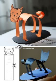 Paper animals 4 diy for kids, projects for kids, crafts for kids, paper Kids Crafts, Cat Crafts, Animal Crafts, Projects For Kids, Halloween Crafts, Diy For Kids, Art Projects, 4 Kids, Halloween Costumes