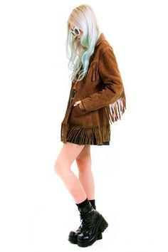 Vintage 70's Suede Mama Fringed Bohemian Jacket - XS/S
