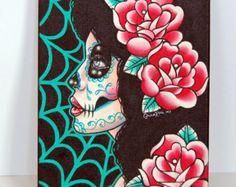 sugar skulls canvas art - Google Search