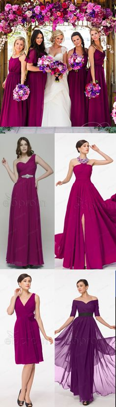 Magenta bridesmaid dresses magenta wedding Plum bridesmaid dresses http://www.ebprom.com/plum-colour-off-the-shoulder-chiffon-evening-dresses-long_p148.html http://www.ebprom.com/halter-chiffon-plum-bridesmaid-dress-with-slit-long_p172.html