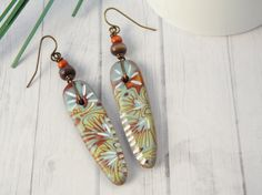 Polymer Clay Earrings featuring Carved by WiredOrchidJewelry, $28.00
