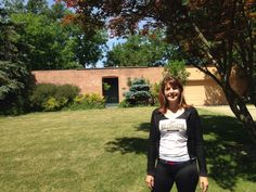 Author Angie Klink in front of Purdue Dean of Women Helen Schleman's former house on Western Drive, West Lafayette, Indiana, June 2014.