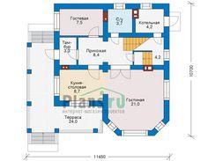 планировка современного двухэтажного частного дома с эркером 9x10м 1 этаж (Планировка 1)