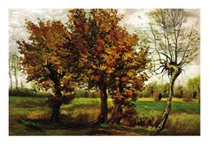 Autumn Landscape with Four Trees by Vincent van Gogh. Premium poster from Art.com.