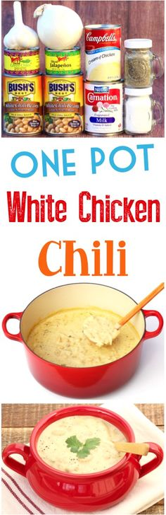 White Chicken Chili Recipe! This easy, creamy one pot dinner is loaded with delicious, savory flavors and will warm you to the toes!