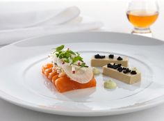 Cured Salmon With Oyster Panna Cotta Crab Avruga Caviar Avocadocrme Frache