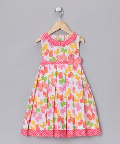 Take a look at this Pink & Yellow Butterfly Dress - Girls by Swirl & Twirl Collection on #zulily today!
