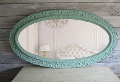Huge Antique Aqua Oval Mirror Shabby Chic Beach Cottage. $339.00, via Etsy.