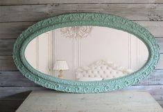 Huge Antique Aqua Oval Mirror Shabby Chic Beach Cottage. $339.00, via Etsy.