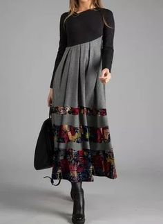 FloryDay / Black Friday Casual Color Block Ruffles V-Neckline X-line Dress Black Work Dresses, Long Sleeve Maxi, Day Dresses, Dresses Online, Buy Dress, Women's Fashion Dresses, Elegant Dresses, Types Of Sleeves, Designer Dresses