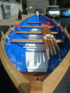 "St-Ayles skiff ""Cumbrae"" launched in time for Sail & Oar Festival.  The type of boat choosen for the Project  ""Scottish Coastal Rowing"""