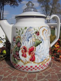 Awwwesome enamel ware coffee pot that is hand painted by Andrea!! Pot is 10 in tall to top of sweet glass knob!