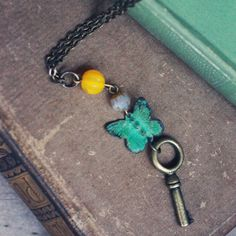 The Key to Flight Butterfly Indie Necklace by Violet Bella