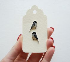 Hand drawn Coal tits. Bird Earrings by kirstinstride on Etsy, £22.00