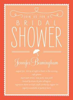 Bridal Bliss - Signature White Bridal Shower Invitations - Petite Alma - Blaze - Orange : Front