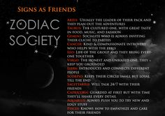 """zodiacsociety: """" The Signs as Friends💜💛💙: Written by Zodiac Society 