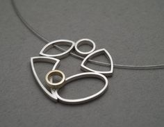 ES361  Cluster pendant - sterling silver, 9ct yellow gold.  $490