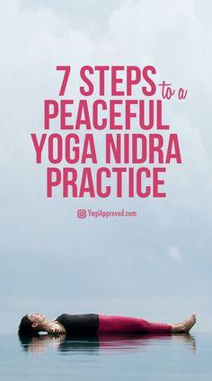 7 Steps to a Peaceful Yoga Nidra Practice (Step Challenge Yoga Poses) Ashtanga Yoga, Vinyasa Yoga, Bikram Yoga, Meditation Mantra, Yoga Nidra Meditation, Mindfulness Meditation, Guided Meditation, Yoga Routine, Workout Routines