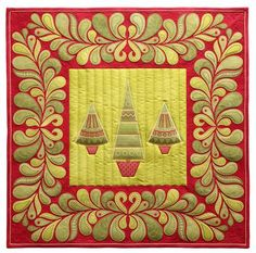 Free Motion Quilted Wall Hanging with Embroidery | Sarah Vedeler Designs