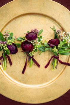 Possible Boutonniere Red & gold, vintage themed wedding Fall Wedding Colors, Burgundy Wedding, Red Wedding, Floral Wedding, Wedding Bouquets, Wedding Flowers, Autumn Wedding, Wedding Ideas, Wedding Inspiration