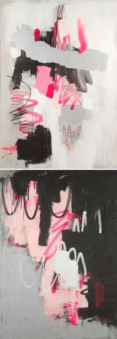 Not only are these gorgeous mixed media pieces {acrylic, graphite, pastel, and spraypaint on canvas}, by Argentina born-Brooklyn based artist Fede Saenz, a stunning yet simple palette of pink, black, and white, they are also really, really BIG! They're all approximately 48″ x 68″