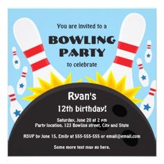 Bowling Birthday Party Invitations Bowling party invitation with bowling ball, blue Kids Bowling Party, Bowling Ball, Bowling Pins, Fun Bowling, Golf Ball, Bowling Birthday Invitations, Birthday Party Invitation Wording, Unique Invitations, Invites