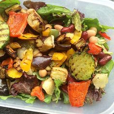 Simple salad for lunch  mixed lettuce • mixed beans • mixed grilled veggies  all thrown together in less than a minute