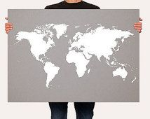 Gray Map of the World,  World Map Poster, Customizable World Map, My Travels World Map Print, Roadtrip Art - LARGE -MEDIUM SIZE