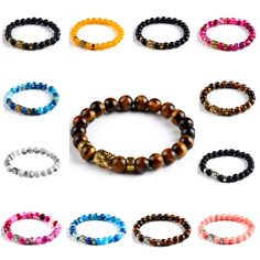 Unisex Newest Natural Stones Golden Buddha Bracelet Onyx Candy Color Men And Women Elastic Chain Bracelets Fashion Jewelry