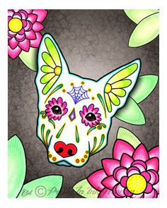 Day of the Dead White German Shepherd Sugar Skull Dog Art Print - 8 x 10 - Prints for Pits Rescue Donation