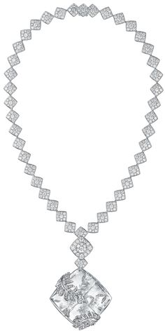 """Signature Cocoon"" Jewellery collection in 18K white gold set with a 1.5 carat brilliant cut Diamond, 652 BrilliantCut - Diamonds (total weight 16.7 cts) and carved rock crystal"