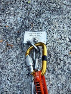 Sport climbing bolt message